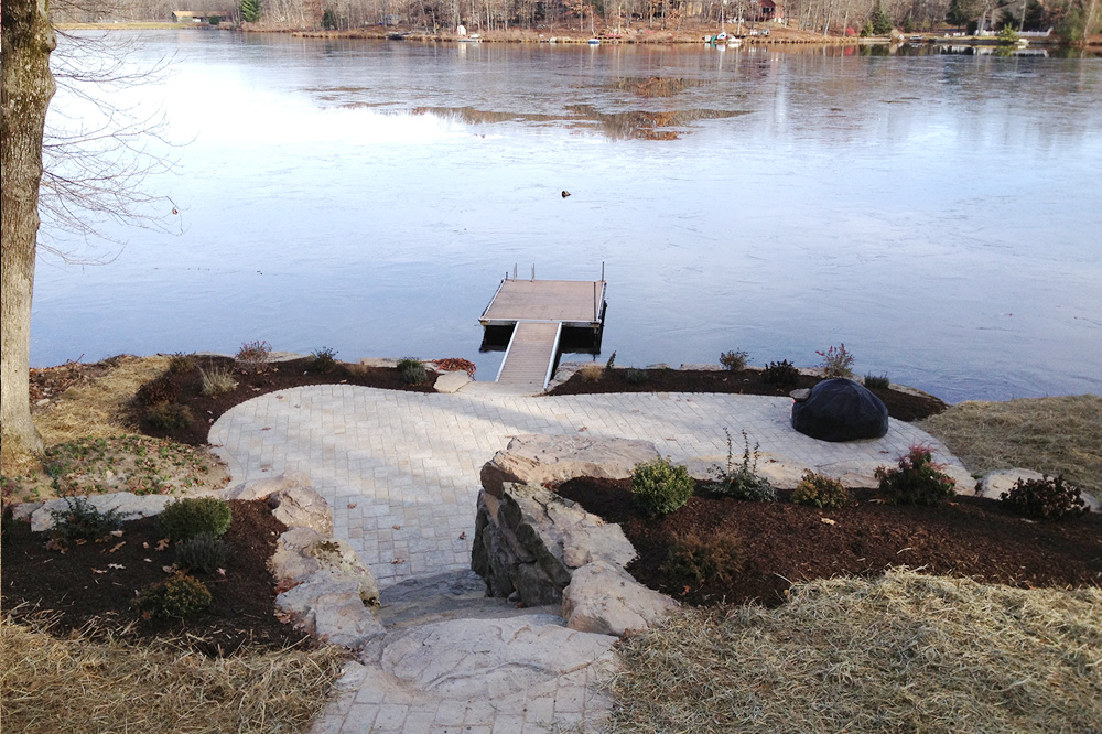 Lawnsmith lakeside patio and dock