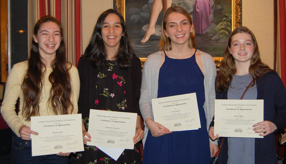 Community Volunteer Scholarship winners Isabella Pizzo, Kimberly Gonzalez, Julia Foster, and Kayla Maas